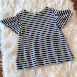 Adorable striped top with ruffle cap sleeve
